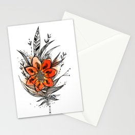 Bronze flower Feather Stationery Cards