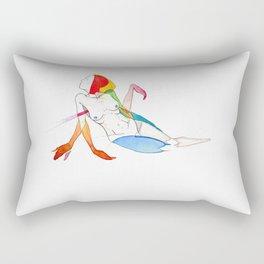 Calico sunburn, female reclining surrealist nude, NYC artist Rectangular Pillow