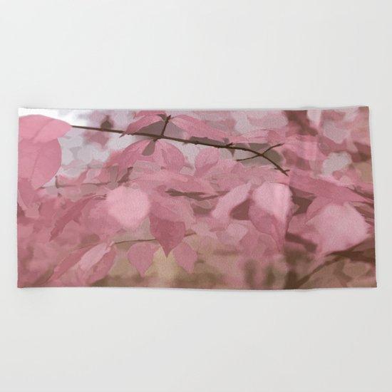 Soft Pastel Leaves  Beach Towel