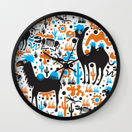 the Cute Desert - Funny Camel, cactus, skeleton, lizard pattern illustration Wall Clock