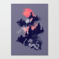 dragon Canvas Prints featuring Samurai's life by Picomodi