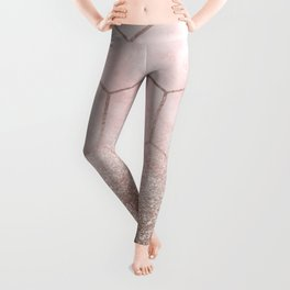 Glitter ombre hex - cloudy pink marble & rose gold glitter Leggings