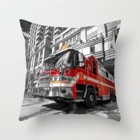 truck Throw Pillows featuring Fire Truck  by Rob Hawkins Photography