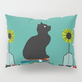 Cat, books and flowers Pillow Sham