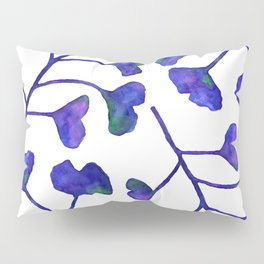 Ginkgo Leaves Watercolor Indigo on white Pillow Sham