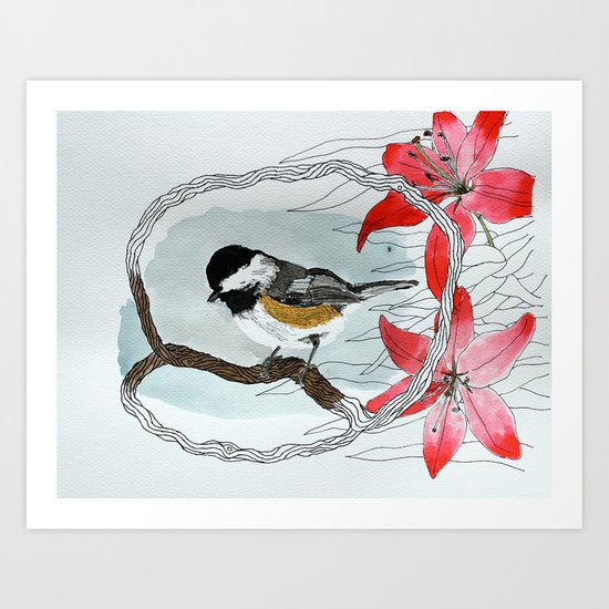 Black capped chickadee and fantasy flowers and lines Art Print