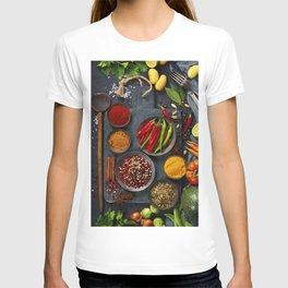 Fresh delicious ingredients for healthy cooking  on rustic background T-shirt
