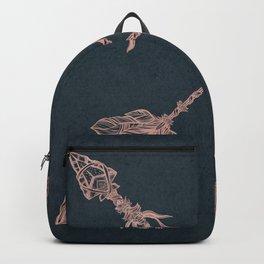 Arrows Rose Gold Foil on Navy Blue Backpack