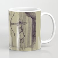 legolas Mugs featuring Legolas LOTR - the noisy silence of woods by Blanca MonQnill Sole
