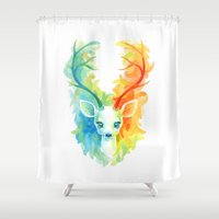 fawn Shower Curtains featuring Feather Fawn by Freeminds