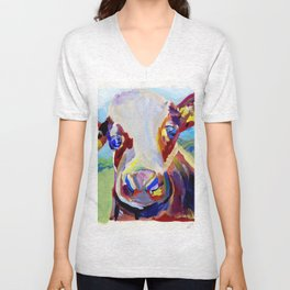 Cow in the Meadow Unisex V-Neck