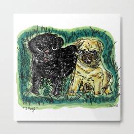 2 pugs Metal Print