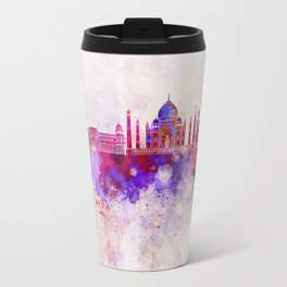 Agra skyline in watercolor background Travel Mug