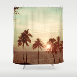 Sunset at Mauna Kea Beach, Hawaii Mint Shower Curtain