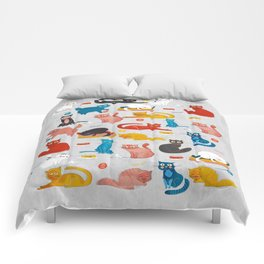Playful Cats - illustration Comforters
