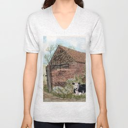 Farm Shed with Cow Unisex V-Neck