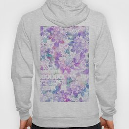 Lavender lilac pink white watercolor aztec floral Hoody