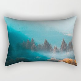 Shining light on foggy autumn forest Rectangular Pillow