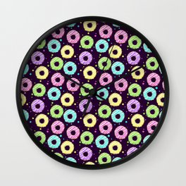 delicious donuts with multi-colored icing on a dark background. cartoon donuts Wall Clock