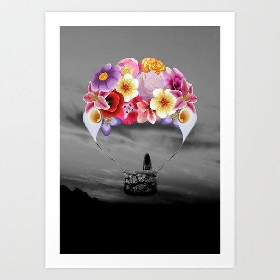 Floral Air Balloon Art Print