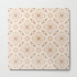 Off White Vintage Flower Pattern Metal Print