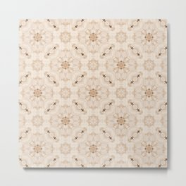 Off White Vintage Flower Pattern Metal Print