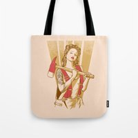 ezra koenig Tote Bags featuring axe girl by barmalisiRTB
