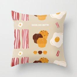 Bacon, Egg & Muffin!! Throw Pillow