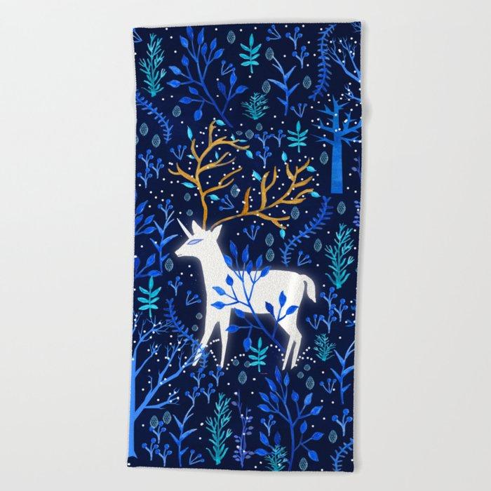 Deericorn In Blue Beach Towel