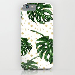 Tropical Leaves on a Sand Dotted Background iPhone Case
