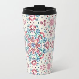 Pastel Blue, Pink & Red Watercolor Floral Pattern on Cream Travel Mug