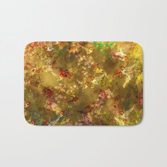 Golden Hummingbirds Pattern Bath Mat