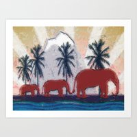 elephants Art Prints featuring Elephants by LoRo  Art & Pictures