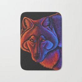 Fire Wolf Colorful Fantasy Animals Bath Mat