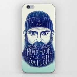 CALM SEAS NEVER MADE A SKILLED (Blue) iPhone Skin