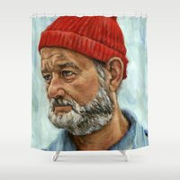 zissou Shower Curtains featuring Bill Murray / Steve Zissou by Heather Buchanan