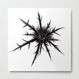 Dry Thistle With Sharp Thorns Botanical Art Metal Print