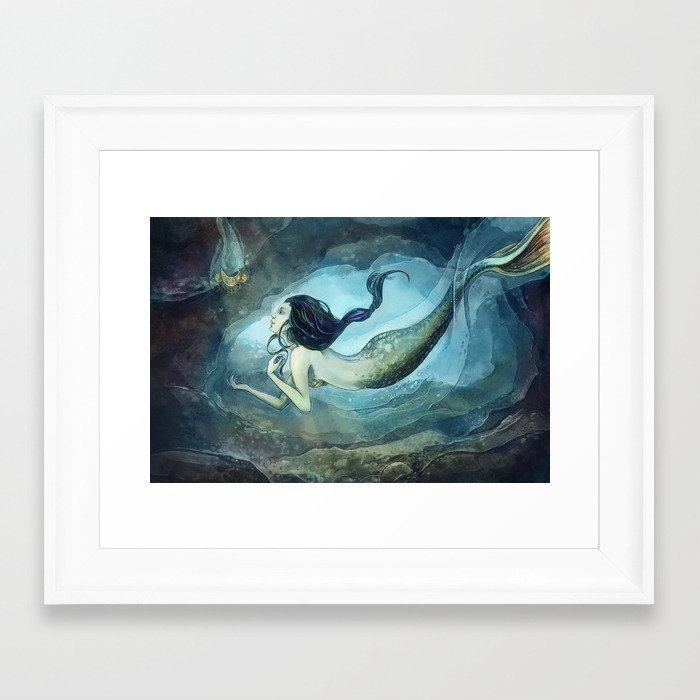 mermaid treasure Framed Art Print
