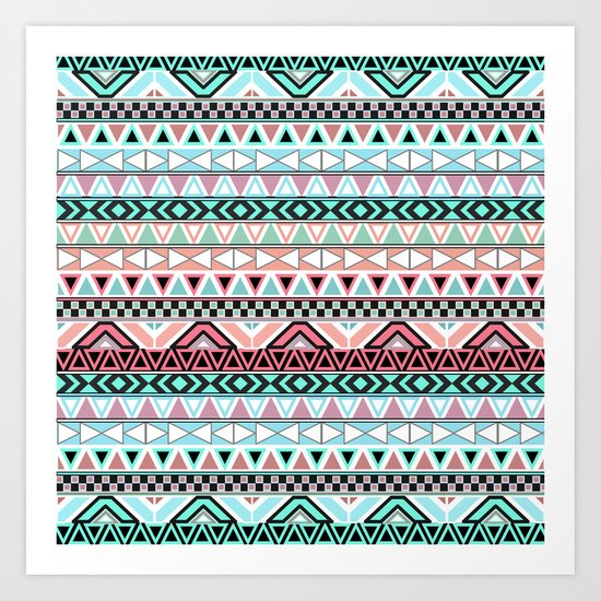 Pastel me | Andes Teal Pink Cute  Abstract Aztec Pattern Art Print