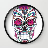 sugar skull Wall Clocks featuring Sugar Skull by Laura Maxwell