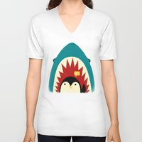 shapes V-neck T-shirts featuring Hi! by Jay Fleck
