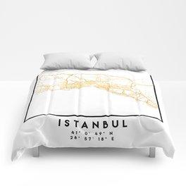 ISTANBUL TURKEY CITY STREET MAP ART Comforters