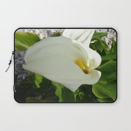 A Large Single White Calla Lily Flower Laptop Sleeve