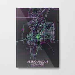 Albuquerque Map Cyberpunk Metal Print