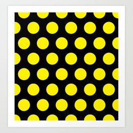 Yellow Circles on Black Background Art Print