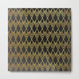 Art Deco Diamond Teardop - Black & Gold Metal Print