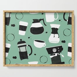 Do you even coffee? (teal) Serving Tray