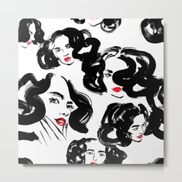 A pattern of glamorous girls with wavy hair - in black and red colors Metal Print