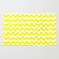chevron Area & Throw Rugs featuring Chevron (Yellow/White) by 10813 Apparel