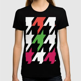 Jumbo Scale Neon Colors Houndstooth Pattern T-shirt